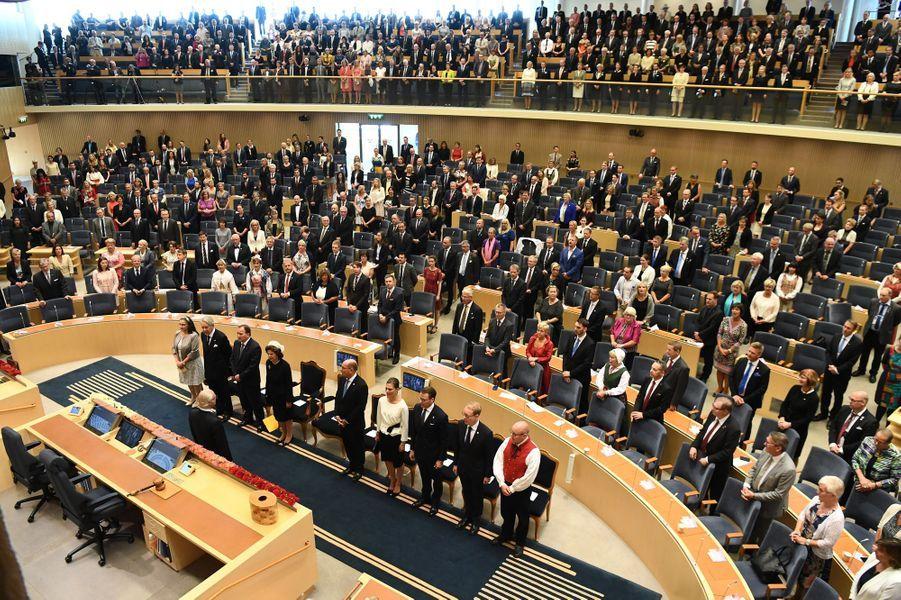 La famille royale de Suède lors de l'ouverture du Parlement à Stockholm, le 13 septembre 2016