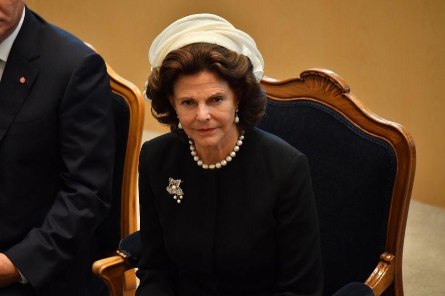 La reine Silvia de Suède à Stockholm, le 13 septembre 2016