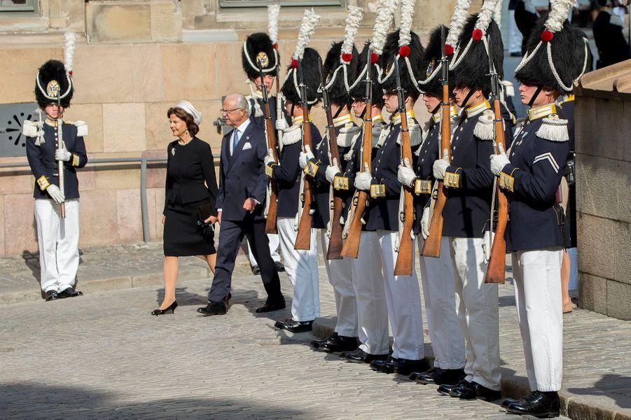 La reine Silvia et le roi Carl XVI Gustaf de Suède à Stockholm, le 13 septembre 2016