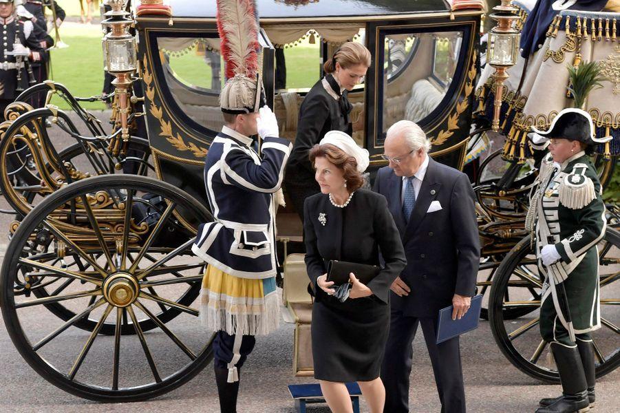 La reine Silvia, le roi Carl XVI Gustaf et la princesse Madeleine de Suède à Stockholm, le 13 septembre 2016