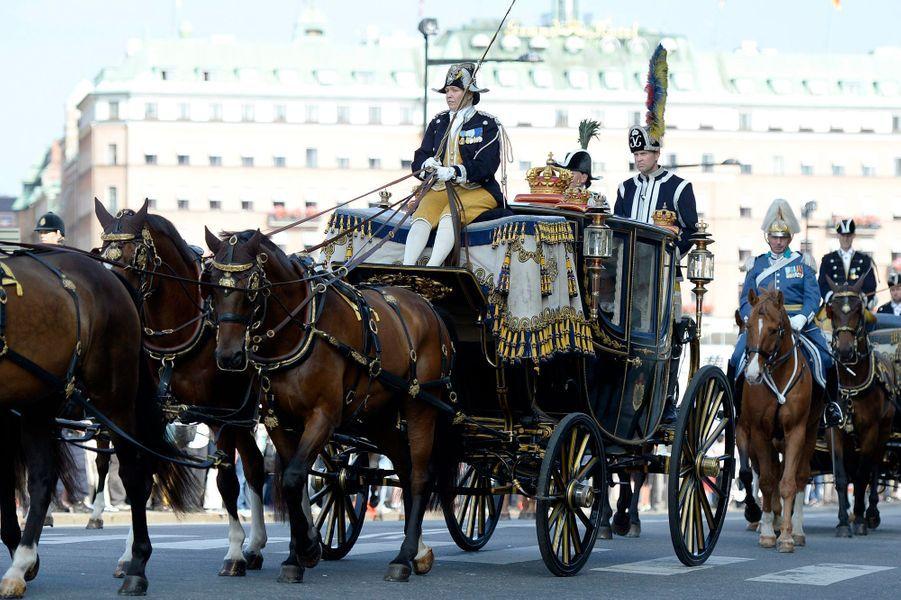 Le carrosse du roi Carl XVI Gustaf et de la reine Silvia à Stockholm, le 13 septembre 2016