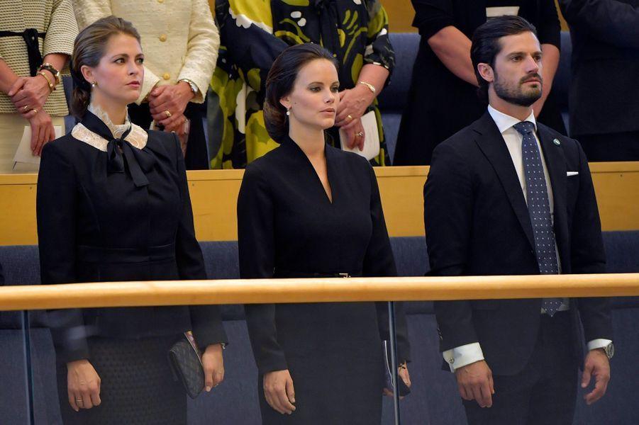 Les princesses Madeleine et Sofia et le prince Carl Philip de Suède à Stockholm, le 13 septembre 2016