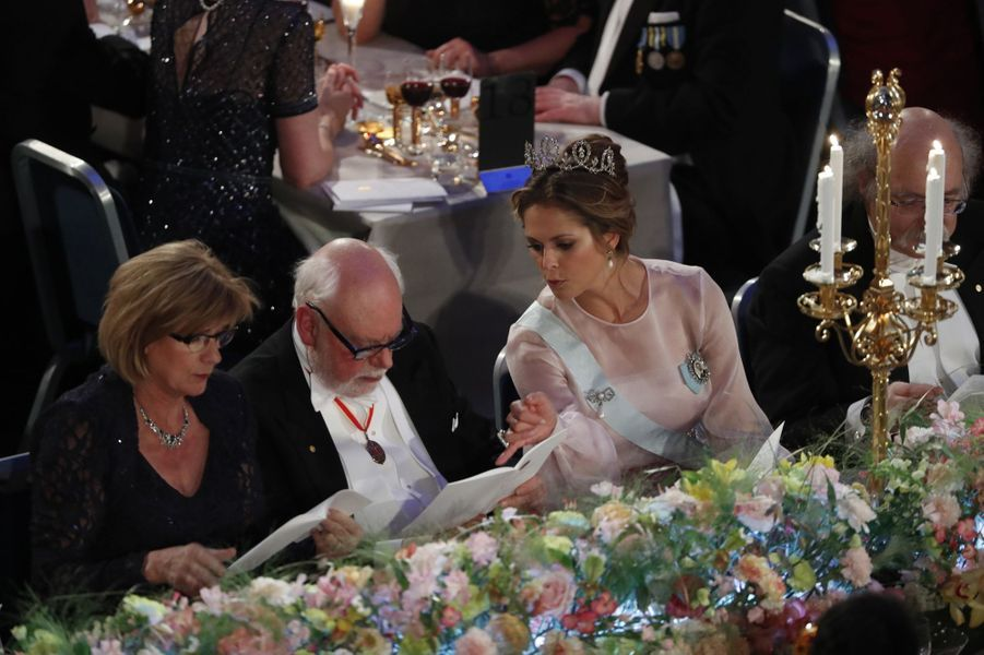La princesse Madeleine de Suède au banquet des Nobel à Stockholm, le 10 décembre 2016