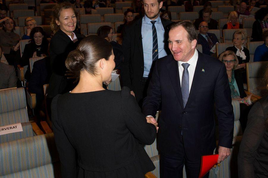 La princesse Victoria de Suède avec le Premier ministre Suèdois à Stockholm, le 18 janvier 2016