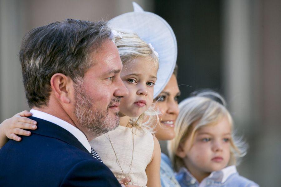 La princesse Madeleine, son mari Chris et leurs enfants la princesse Leonore et le prince Nicolasaux 40 ans de la princesse Victoria, le 14 juillet 2017.