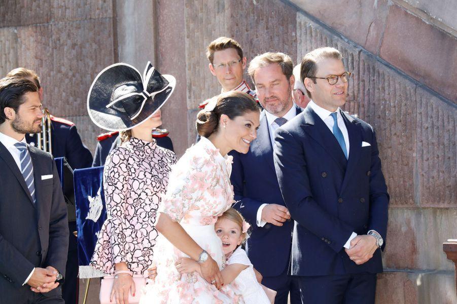 La familleaux 40 ans de la princesse Victoria, le 14 juillet 2017.
