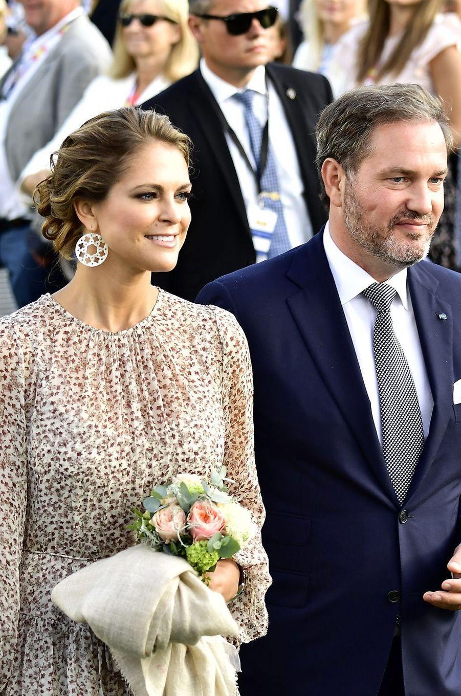 La princesse Madeleine et son mari Chris aux 40 ans de la princesse Victoria, le 14 juillet 2017.