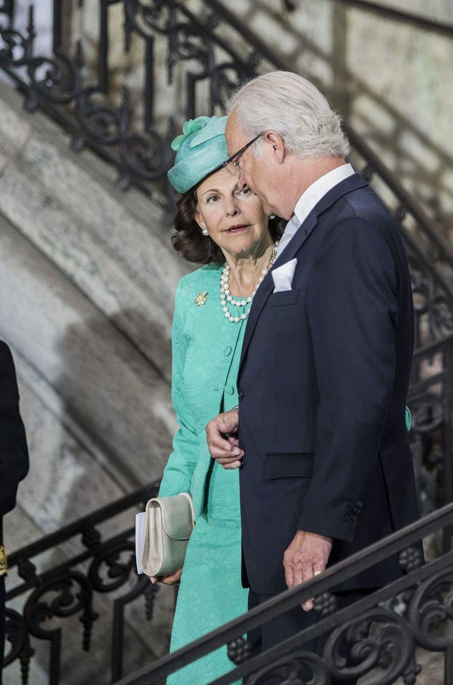La reine Silvia et le roi Carl XVI Gustavaux 40 ans de la princesse Victoria, le 14 juillet 2017.