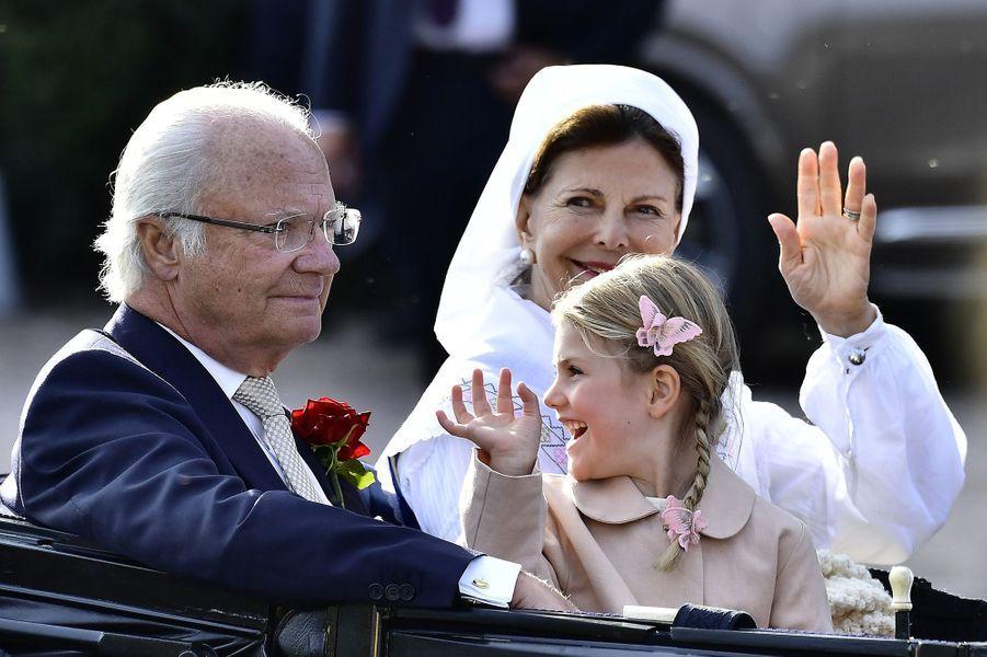 Le roi Carl XVI Gustav et la reine Silvia aux 40 ans de la princesse Victoria, le 14 juillet 2017.