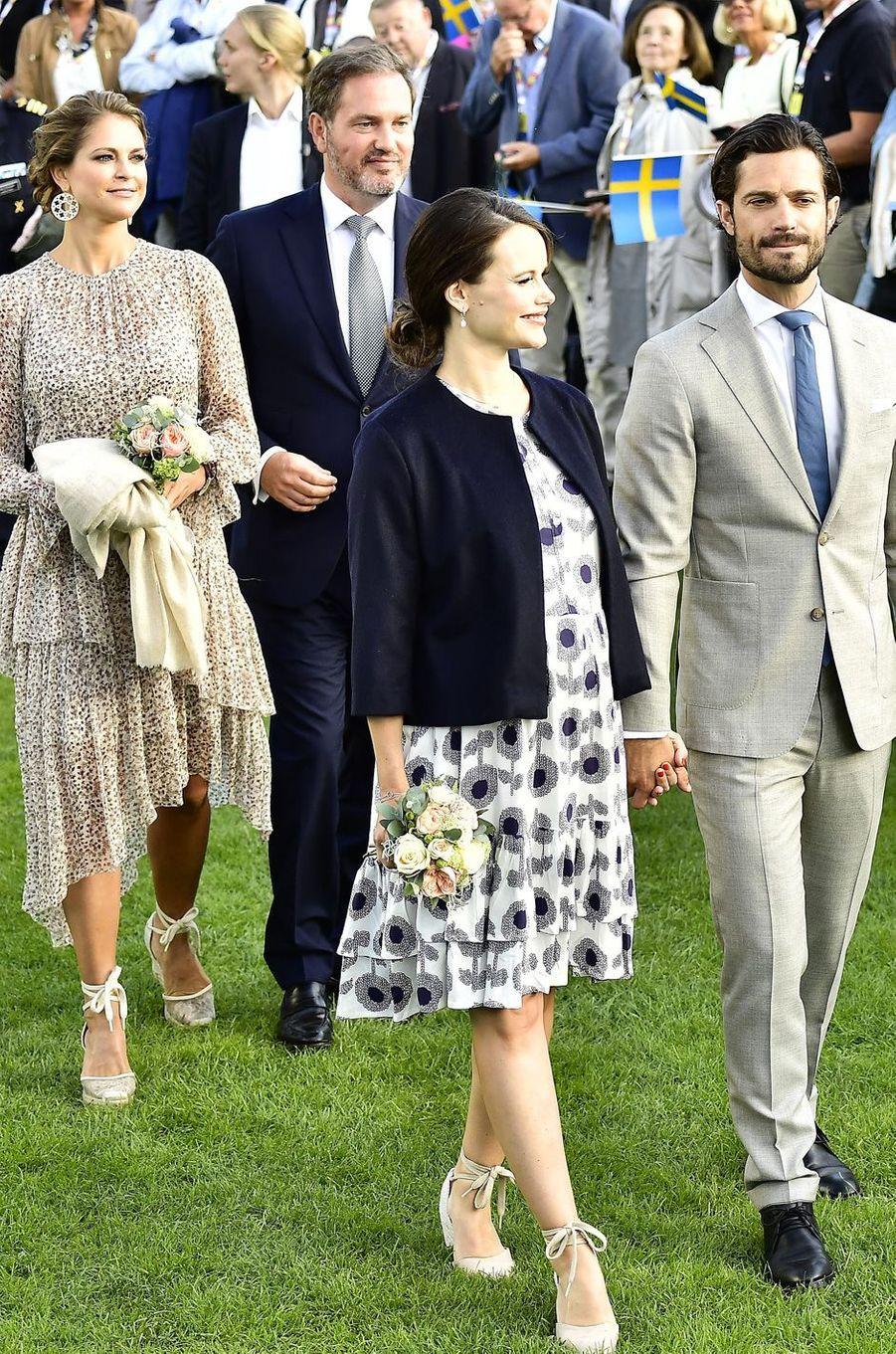 La princesse Madeleine, son mari Chris, la princesse Sofia et le prince Carl Philipaux 40 ans de la princesse Victoria, le 14 juillet 2017.