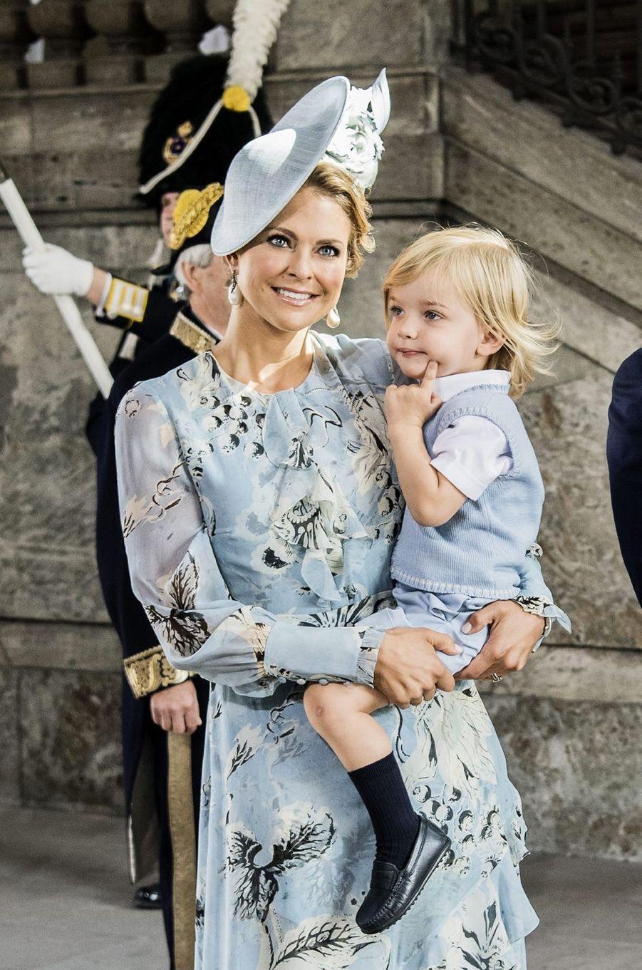 La princesse Madeleine et le prince Nicolasaux 40 ans de la princesse Victoria, le 14 juillet 2017.