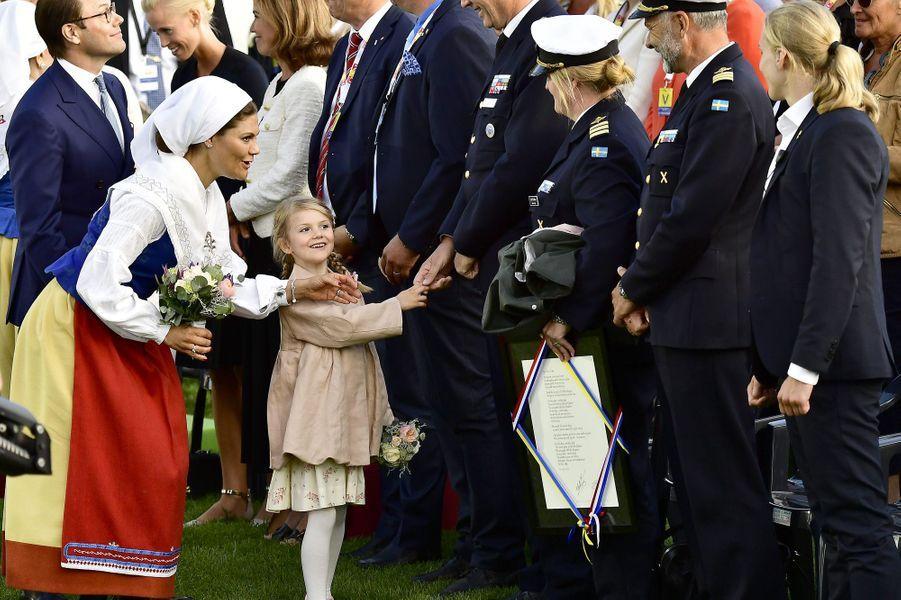 La princesse Victoria, son mari Daniel, le prince Oscar et la princesse Estelleaux 40 ans de la princesse Victoria, le 14 juillet 2017.