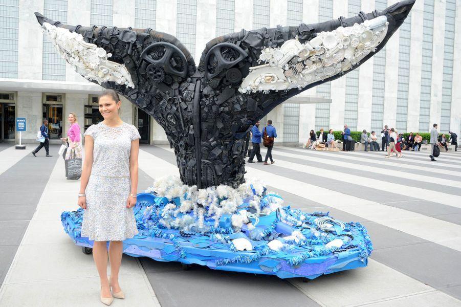 La princesse Victoria de Suède à New York lors de la Journée internationale des océans, le 8 juin 2017