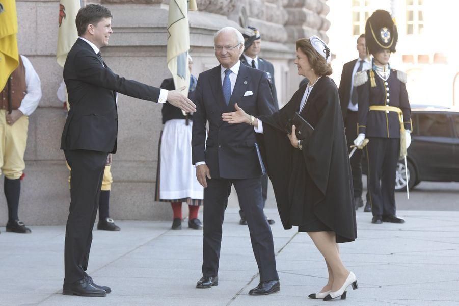 La reine Silvia et le roi Carl XVI Gustaf de Suède à Stockholm, le 25 septembre 2018
