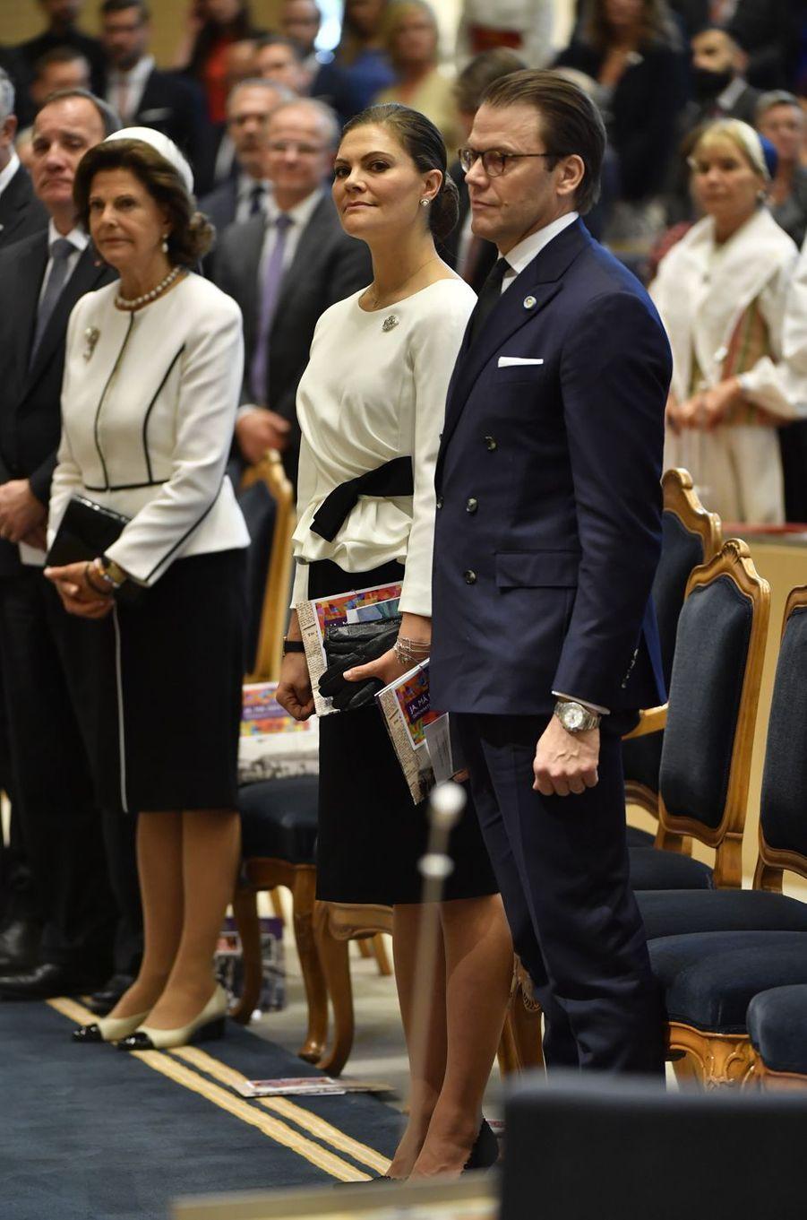 La reine Silvia, la princesse Victoria et le prince Daniel de Suède à Stockholm, le 25 septembre 2018