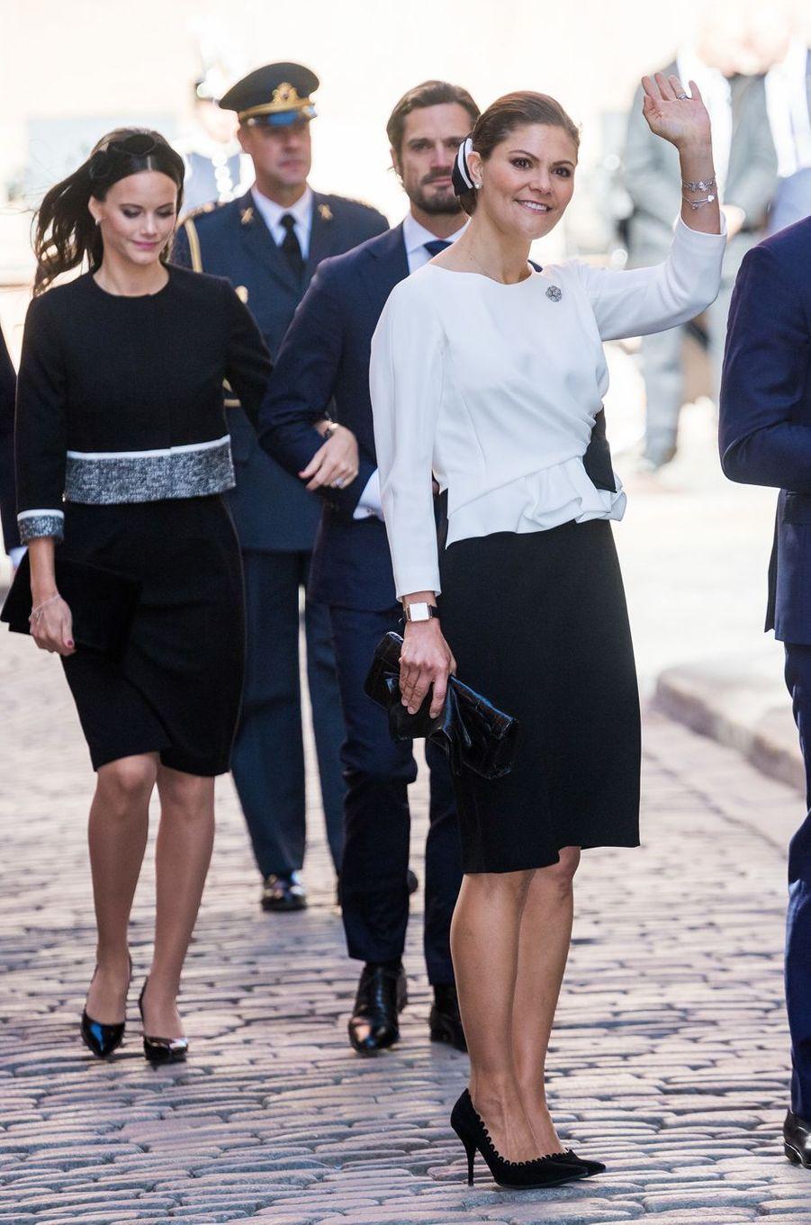 Les princesses Victoria et Sofia de Suède et le prince Carl Philip à Stockholm, le 25 septembre 2018