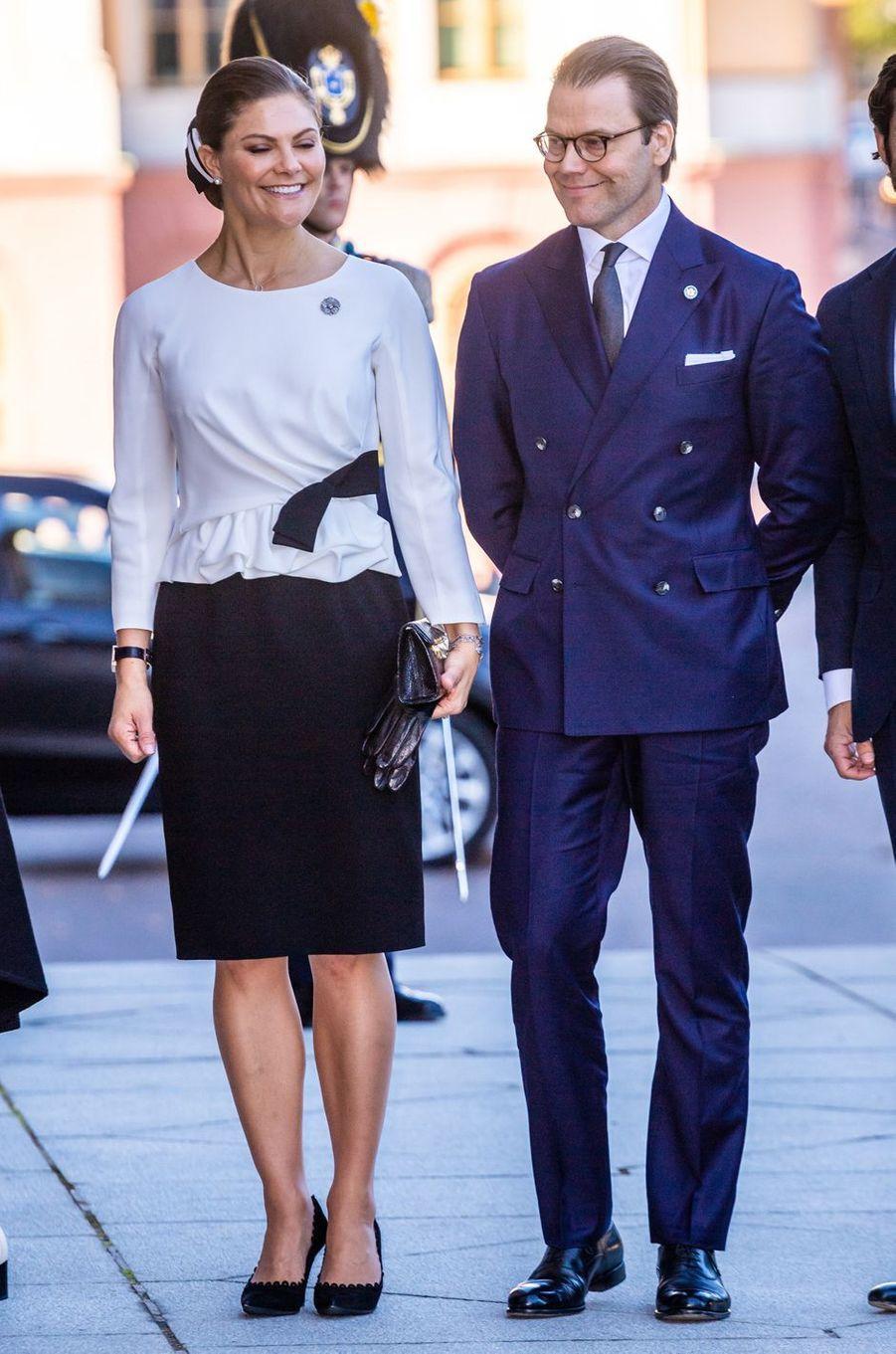 La princesse Victoria de Suède et le prince consort Daniel à Stockholm, le 25 septembre 2018