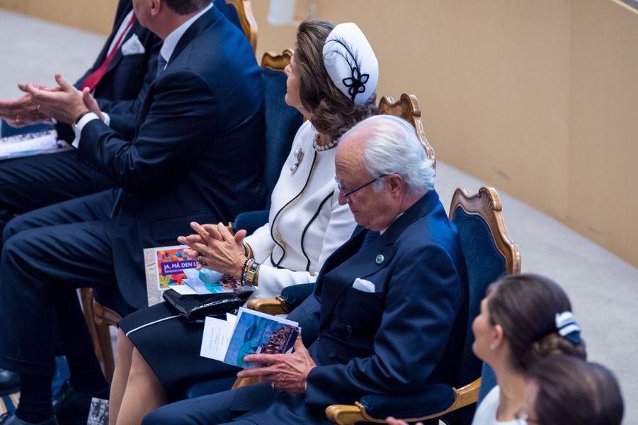La reine Silvia, la princesse Victoria et le roi Carl XVI Gustaf de Suède à Stockholm, le 25 septembre 2018