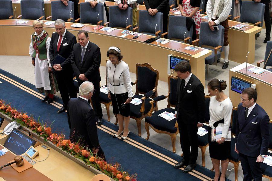 La reine Silvia, la princesse Victoria, le prince Daniel et le roi Carl XVI Gustaf de Suède à Stockholm, le 25 septembre 2018