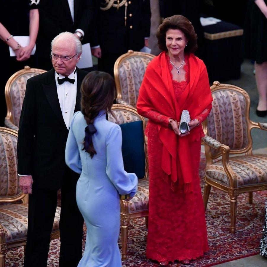 La princesse Sofia, la reine Silvia et le roi Carl XVI Gustaf de Suède à Stockholm, le 14 mars 2019