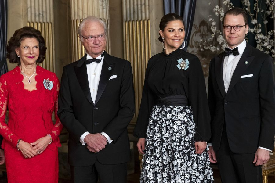 La reine Silvia, le roi Carl XVI Gustaf, la princesse Victoria et le prince consort Daniel de Suède à Stockholm, le 14 mars 2019