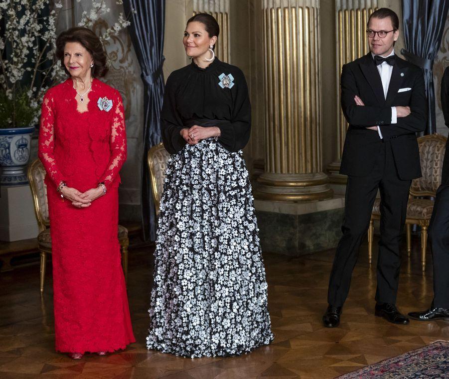 La reine Silvia, la princesse Victoria et le prince consort Daniel de Suède à Stockholm, le 14 mars 2019
