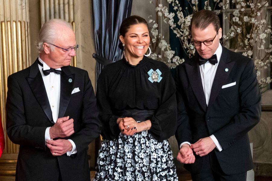 La princesse Victoria avec le roi Carl XVI Gustaf et le prince consort Daniel de Suède à Stockholm, le 14 mars 2019