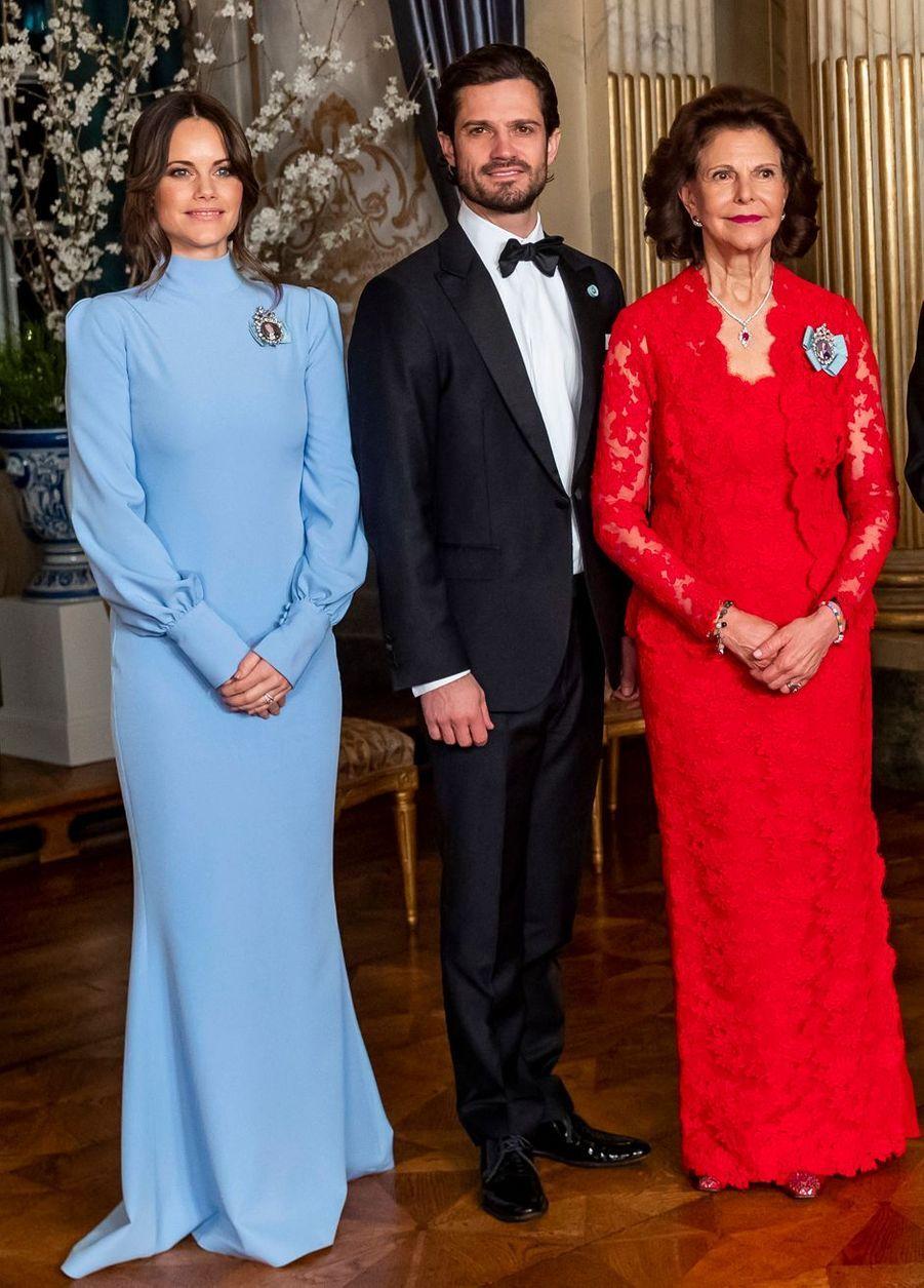 La princesse Sofia, le prince Carl Philip et la reine Silvia de Suède à Stockholm, le 14 mars 2019