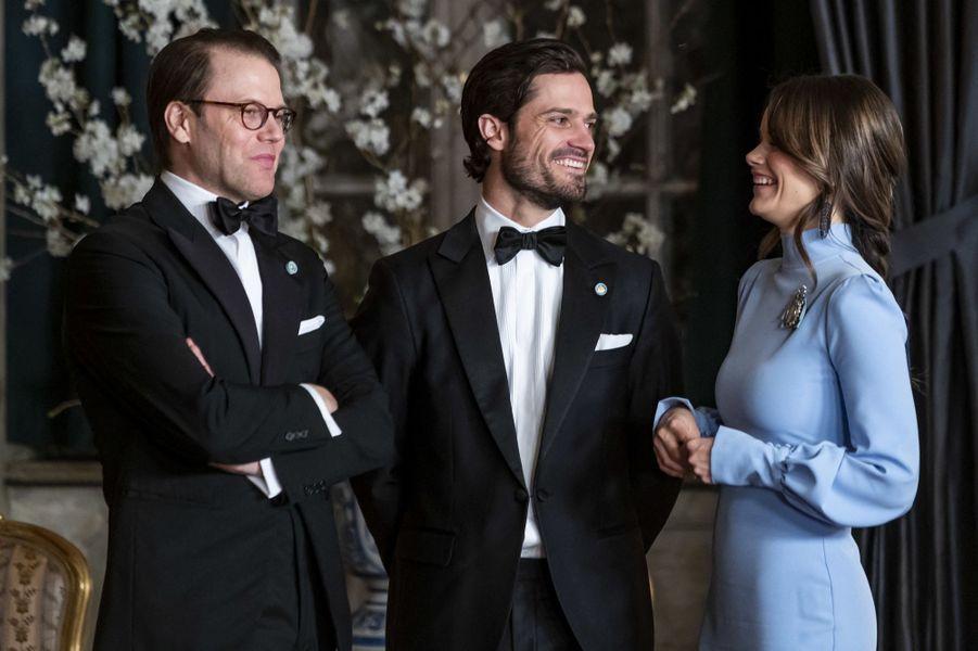 La princesse Sofia avec les princes Daniel et Carl Philip de Suède à Stockholm, le 14 mars 2019