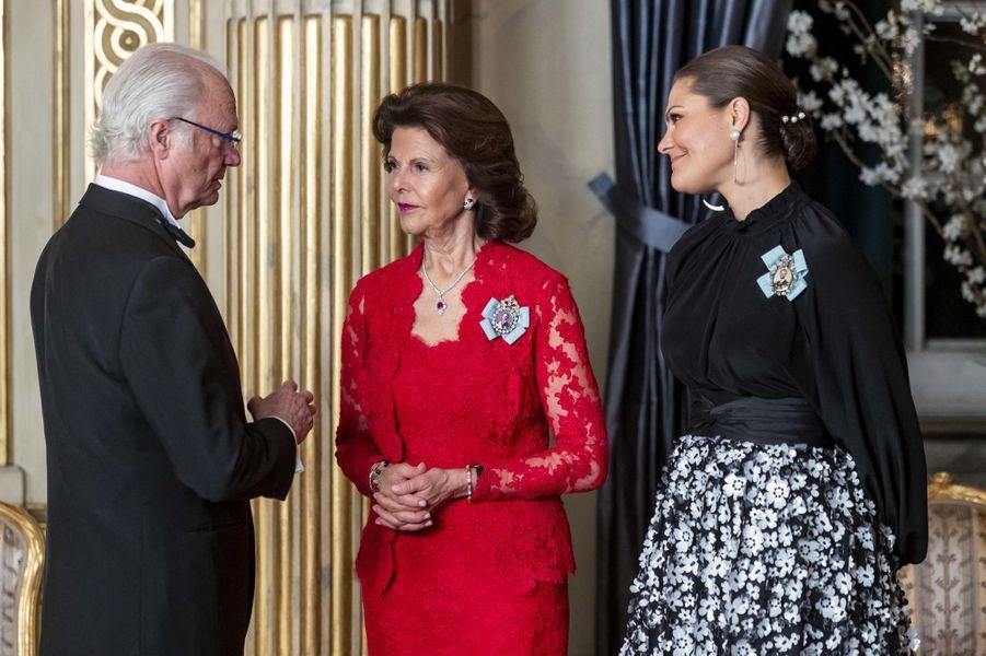 La reine Silvia et la princesse Victoria avec le roi Carl XVI Gustaf de Suède à Stockholm, le 14 mars 2019