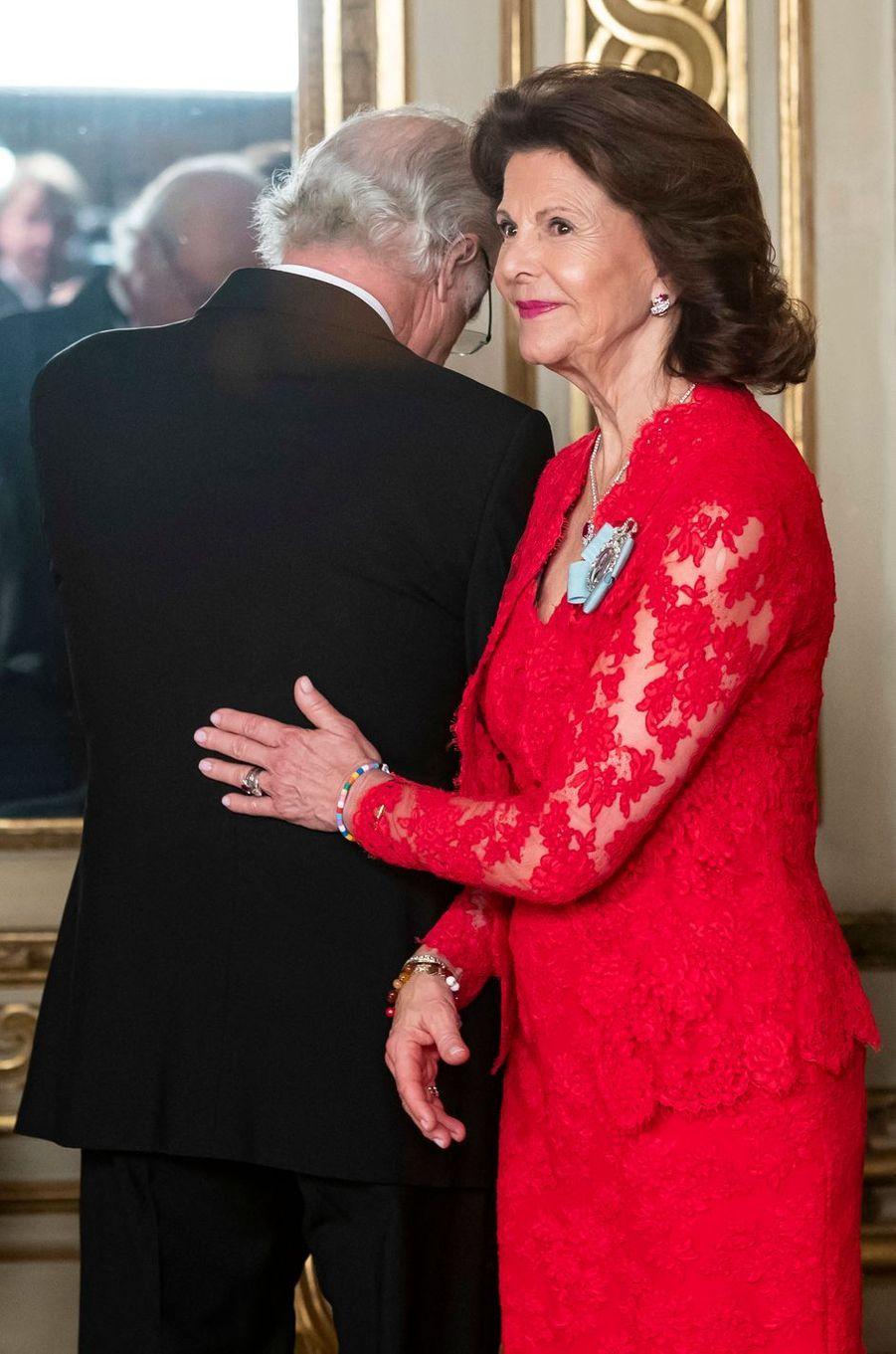 La reine Silvia et le roi Carl XVI Gustaf de Suède à Stockholm, le 14 mars 2019