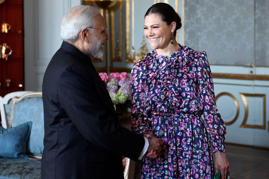 La princesse Victoria de Suède avec le Premier ministre indien à Stockholm, le 17 avril 2018