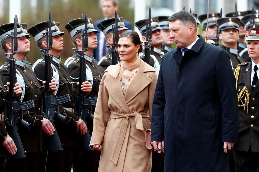 La princesse héritière Victoria de Suède avec le président de Lettonie à Riga, le 27 avril 2018