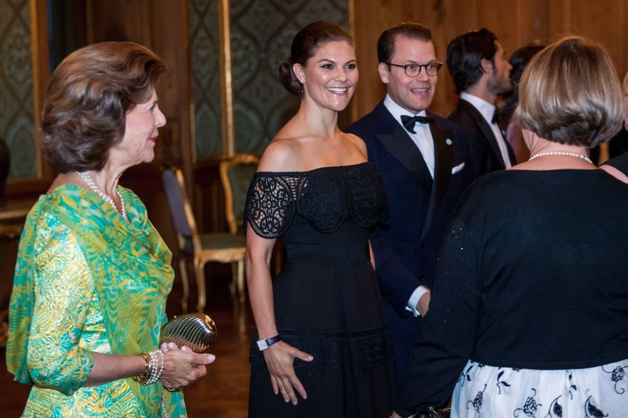 La reine Silvia, la princesse Victoria et le prince Daniel de Suède à Stockholm, le 14 septembre 2018