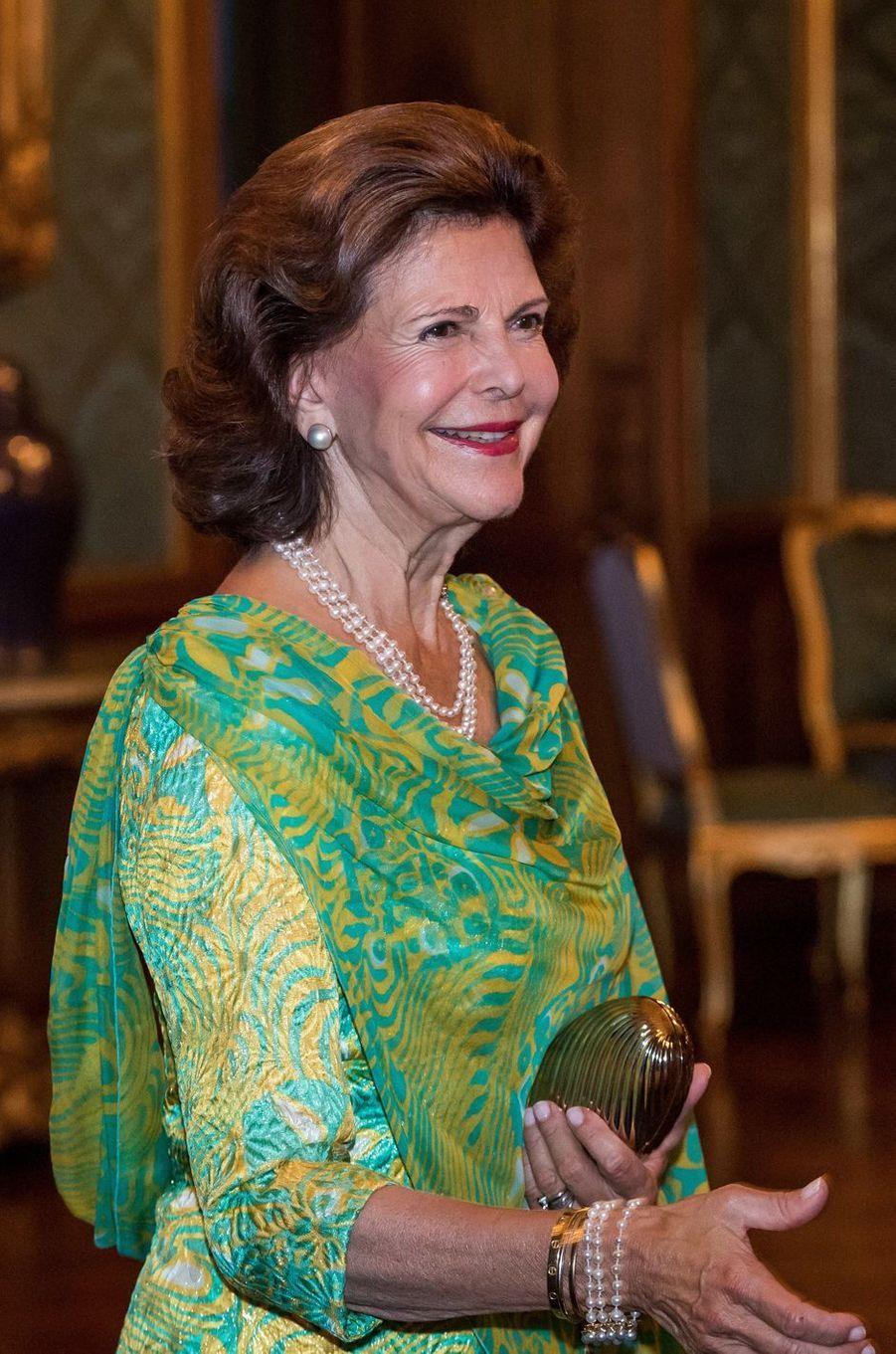 La reine Silvia de Suède à Stockholm, le 14 septembre 2018