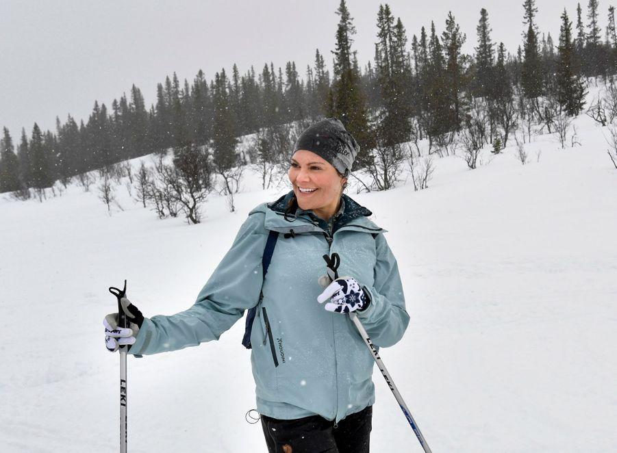 La princesse Victoria de Suède dans le Härjedalen, le 29 mars 2019