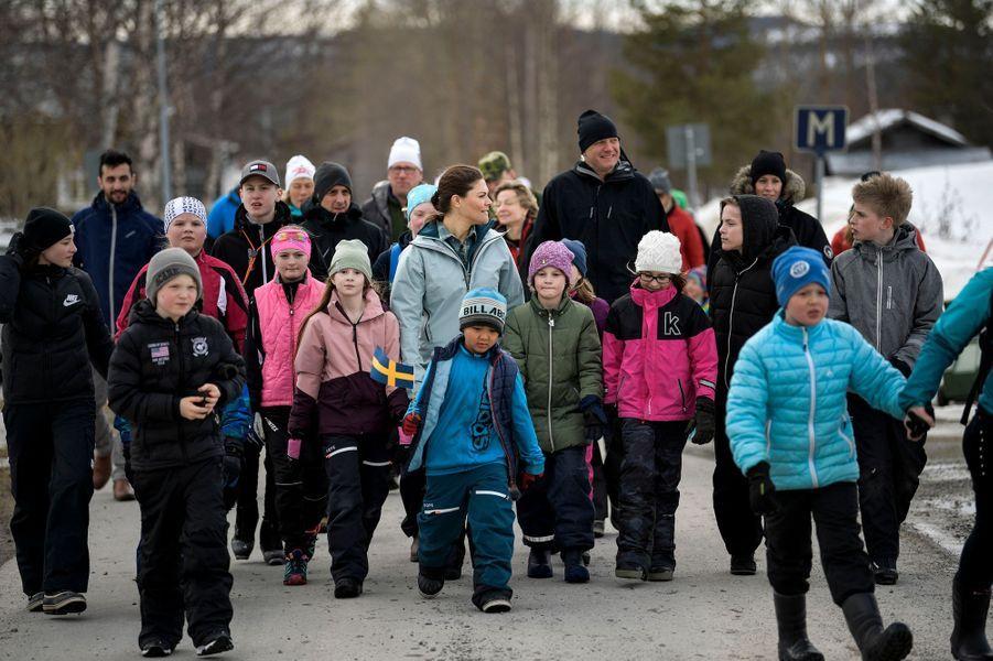 La princesse Victoria de Suède en randonnée dans le Härjedalen, le 29 mars 2019