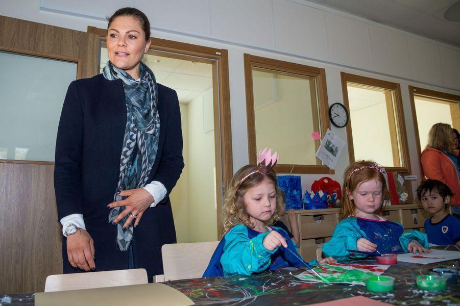 La princesse Victoria de Suède dans une école à Ronneby, le 13 avril 2018
