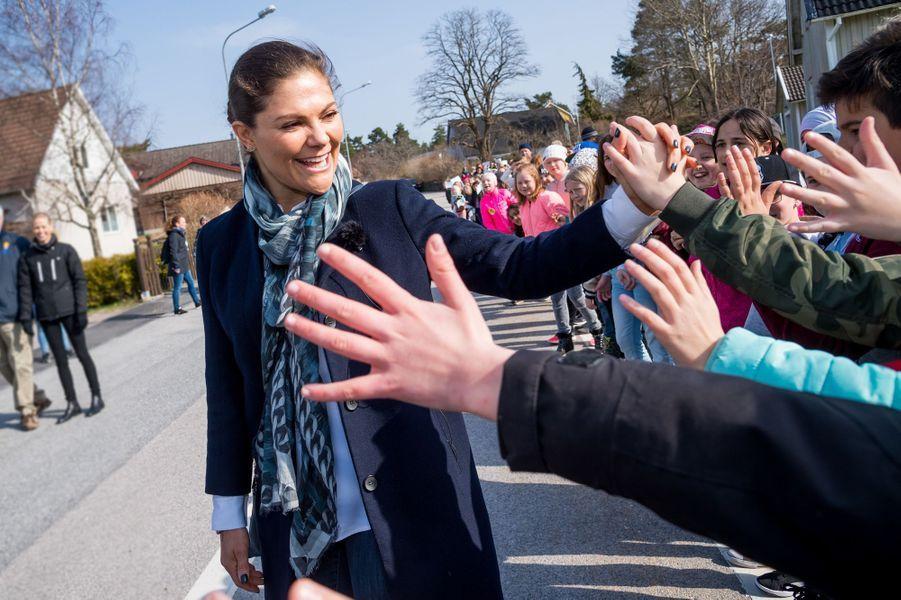 La princesse héritière Victoria de Suède, le 13 avril 2018 à Ronneby