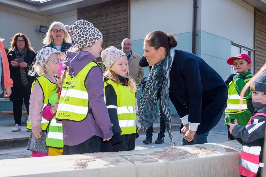 La princesse Victoria de Suède à Ronneby dans le comté de Blekinge, le 13 avril 2018
