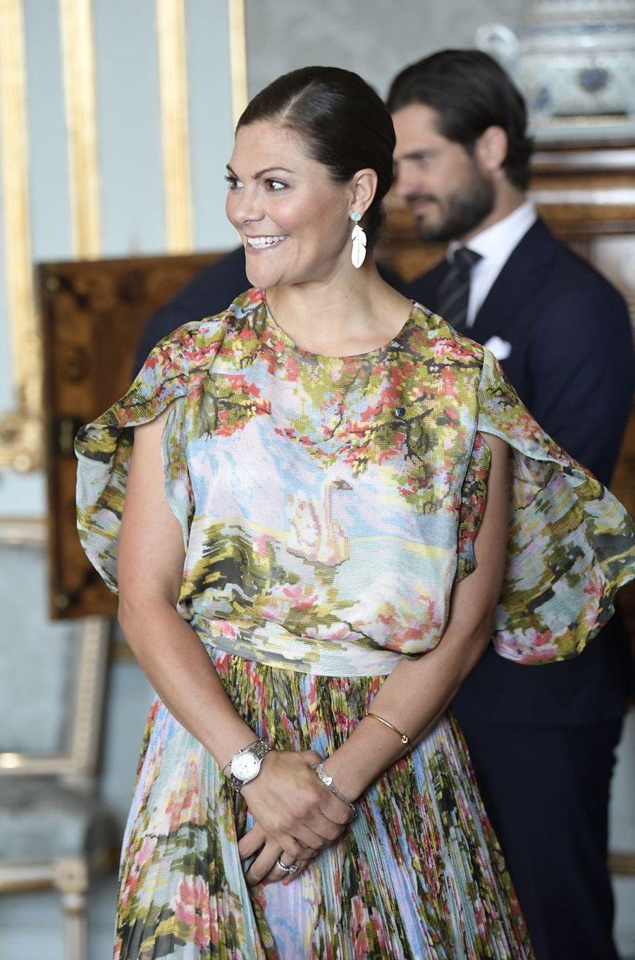 La princesse Victoria de Suède et son frère le prince Carl Philip à Stockholm, le 24 août 2017