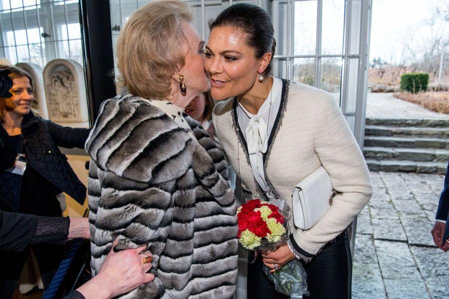 La princesse héritière Victoria de Suède et la comtesse Marianne Bernadotte à Stockholm, le 16 mars 2017