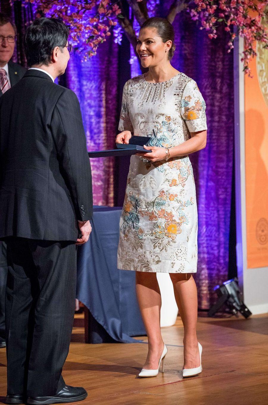 La princesse héritière Victoria de Suède remet le prix Crafoord à Stockholm, le 18 mai 2017