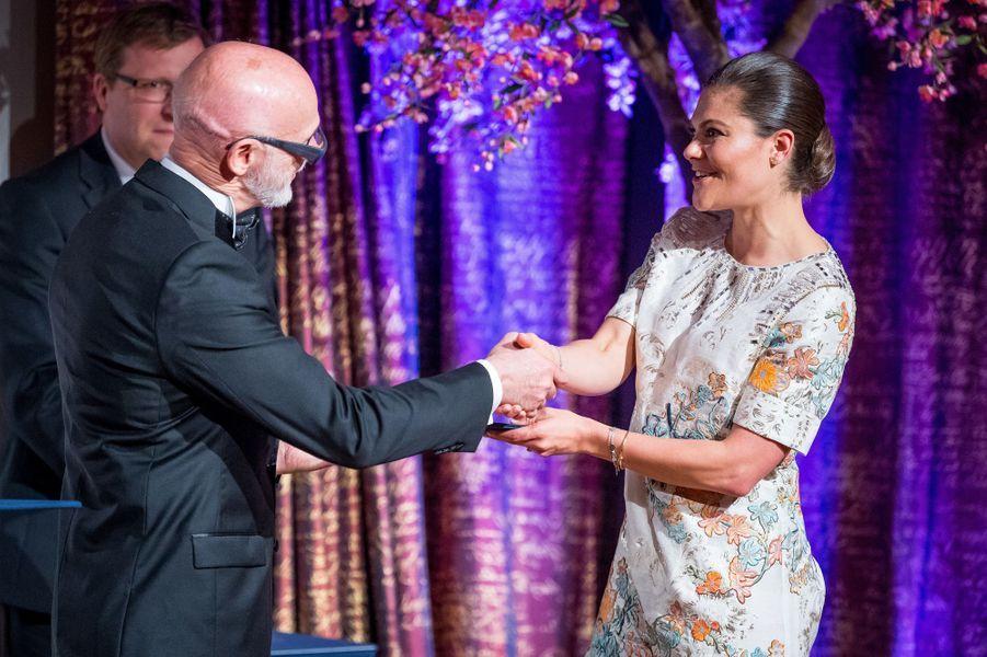 La princesse Victoria de Suède remet le prix Crafoord à Stockholm, le 18 mai 2017