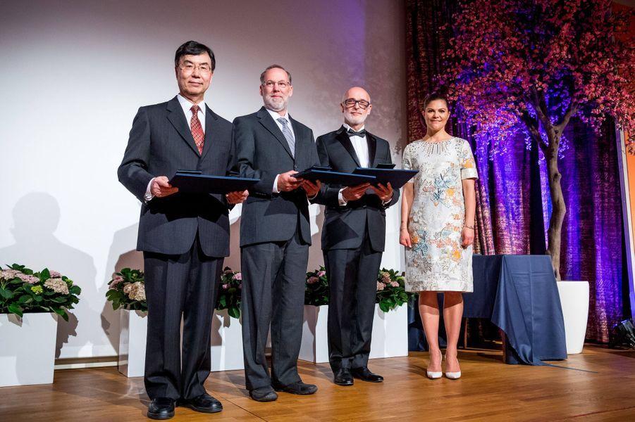 La princesse Victoria de Suède et les lauréats du prix Crafoord 2017, à Stockholm le 18 mai 2017