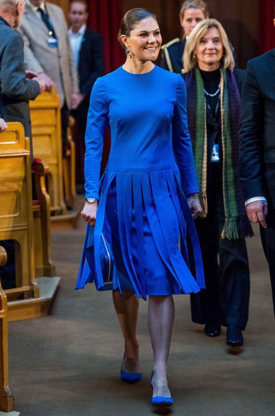 La princesse héritière Victoria de Suède au Riksdag à Stockholm, le 18 octobre 2017