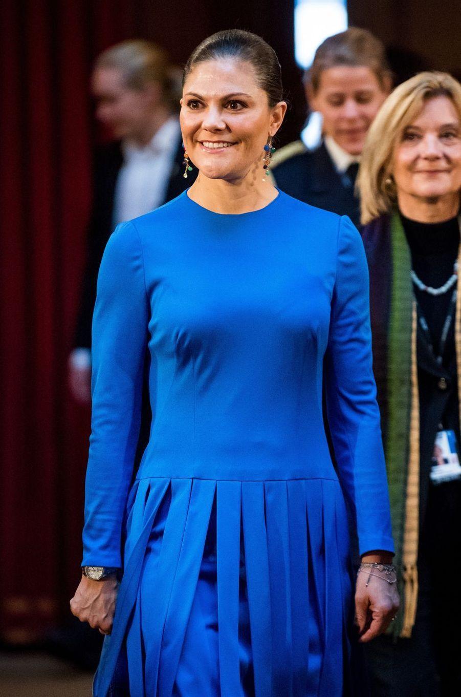 La princesse Victoria de Suède au Parlement à Stockholm, le 18 octobre 2017