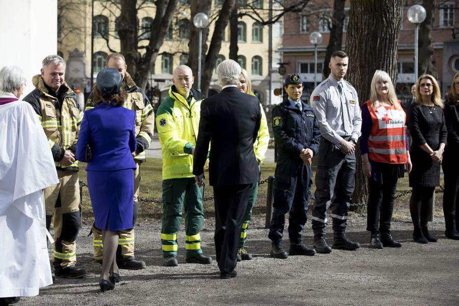 La reine Silvia et le roi Carl XVI Gustaf de Suède à Stockholm, le 7 avril 2018