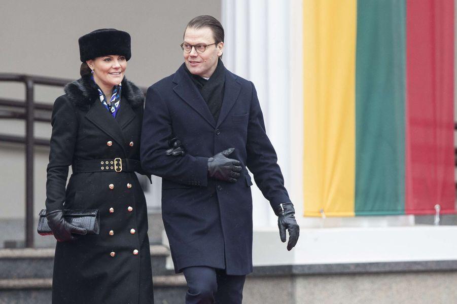 La princesse Victoria de Suède et le prince consort Daniel à Vilnius, le 16 février 2018