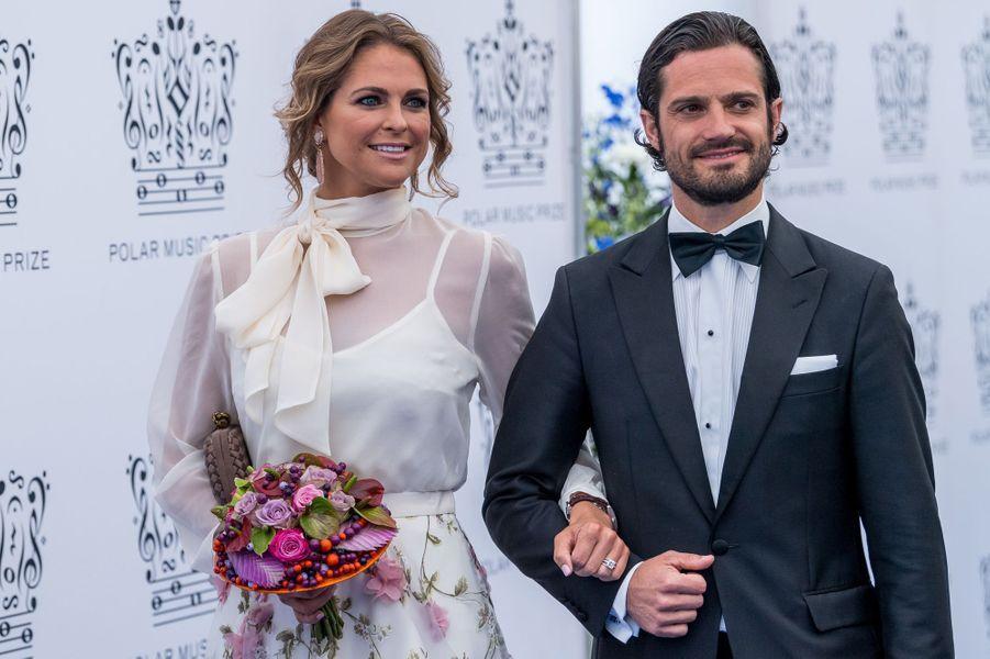 La princesse Madeleine et le prince Carl Philip de Suède à Stockholm, le 15 juin 2017
